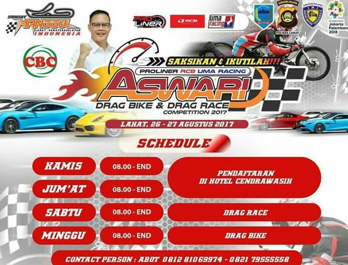 Event balap drag race dan drag bike yang bakal menggetarkan Sirkuit Manggul Lahat