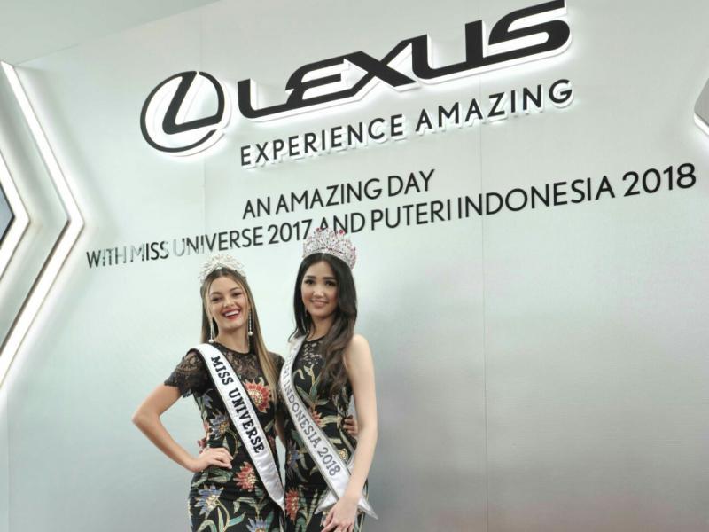 Putri Indonesia 2018 Sonia Fergina Citra dan Miss Universe 2017, Demi Leigh Nel-Peters. (foto : Lexus)