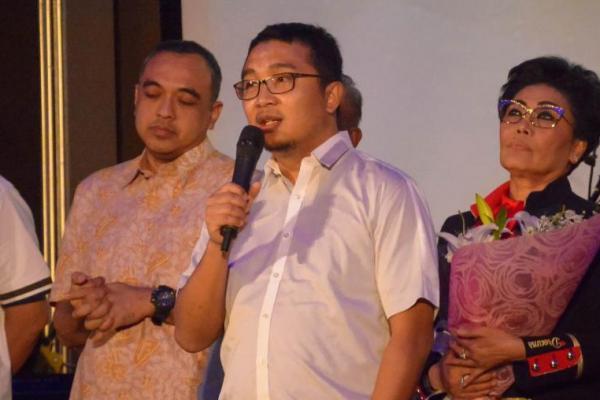 Ketua umum IMI Pusat, Sadikin Aksa memberi sambutan di acara kick off ISSOM 2018 di Titan Center, Bintaro