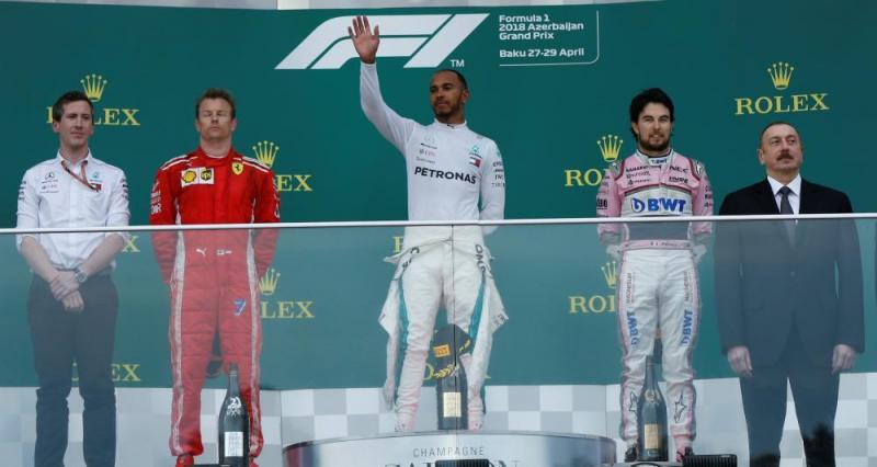 Podium GP Azerbaijan: Hamilton (P1), Raikkonen (P2), Perez (P3)