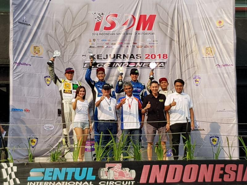 Rudi Sl dan Ahmad Fadillah Alam di podium ETCC Euro 3000