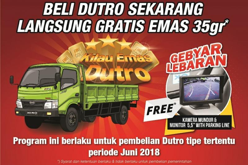 Hanya di Bulan Juni, beli truk Hino Dutro dapat hadiah emas. (foto: ist)