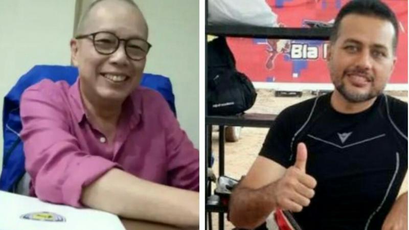 Jeffrey JP (kiri) dan Ijeck, sama-sama penggila reli inginkan WRC bisa kembali hadir di Sumatera Utara. (foto : budsan)