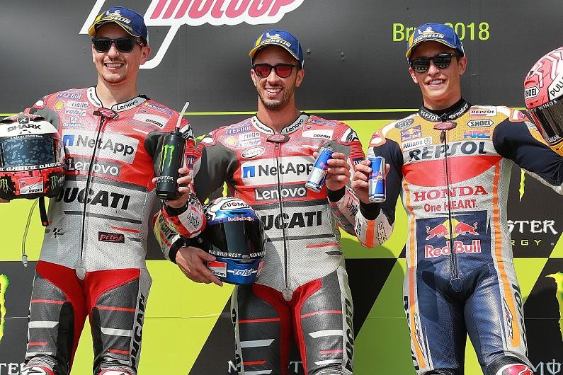 Tiga rider podium di MotoGP Ceko: Dovi (P1), Lorenzo (P2), dan Marquez (P3)