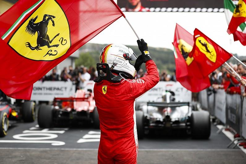 Vettel berselebrasi usai menang di Belgia (ist)