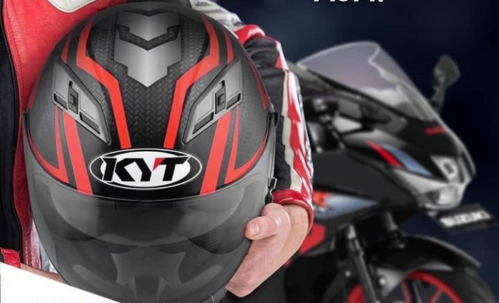 Beli motor sport Suzuki GSX-R150 langsung bawa pulang helm eksklusif mldel fullface KYT Vendetta2. (foto: Suzuki)