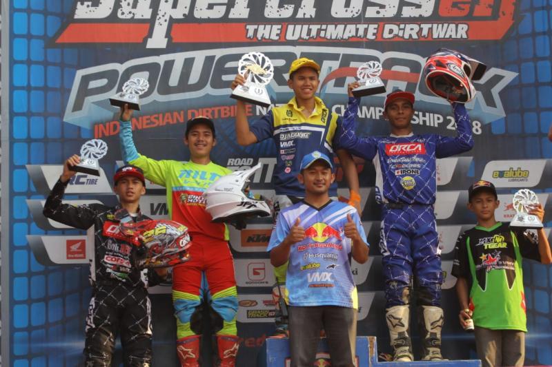 Yosua Pattipi (P2) di kejurnas Motocross 2018 seri 4, Blora, Jawa Tengah