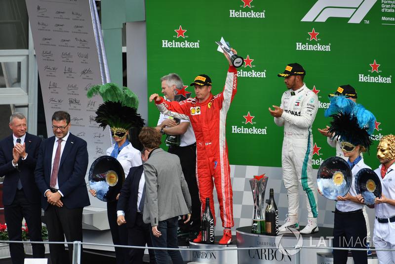 Kimi Raikkonen bersama duo pembalap Mercedes di podium F1 Grand Prix Italia (ist)