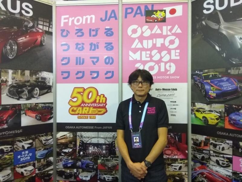 Shinta Yoshioka, Executive Director Osaka Auto Messe terkesan dengan perkembangan modifikasi di Indonesia. (foto: anto)