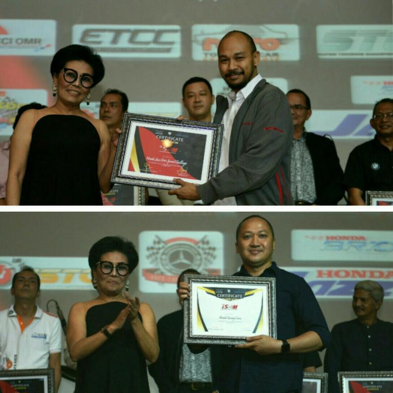 Yulian Karfili dari Honda Prospect Motor (atas), Alvin Bahar terima penhargaan dari Lola Moenek. (foto : bs, kolase)