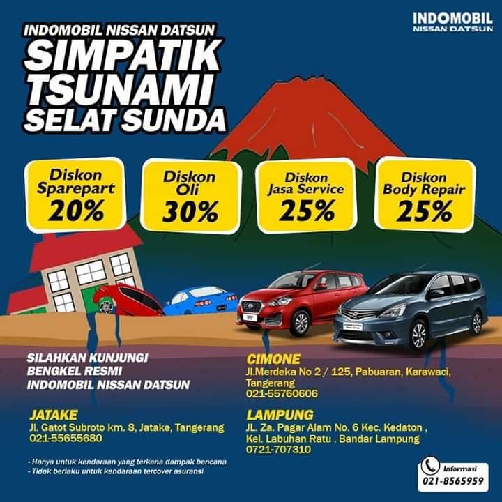 Nissan berikan diskon khusus untuk mobil-mobil yang terkena dampak tsunami dan tidak di-cover asuransi. (foto: ist)