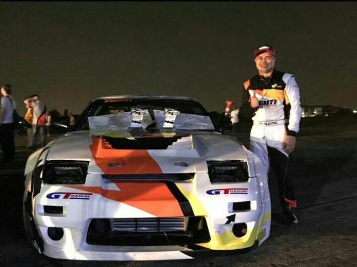 Valentino Ratulangi, kembali ke ajang drift kelas Pro event drift tahun ini. (foto : abm)