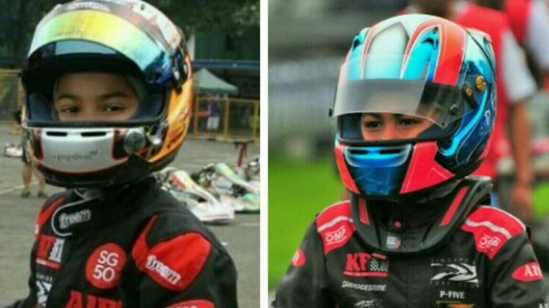 Gael Julien (kiri) dan Daffa AB, siap berlomba di sirkuit KF1 Singapura. (foto : ist)