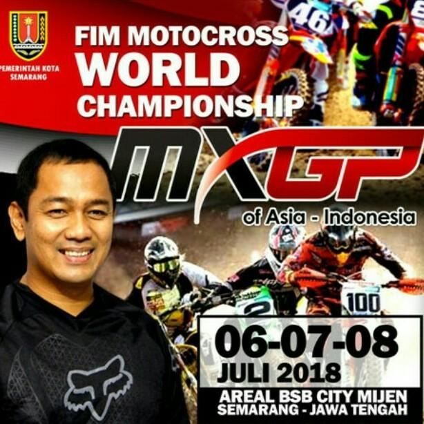 Flyer penyelenggaraan MXGP 2019 di Semarang, dengan memajang foto Walikota Semarang, Hendrar Priadi. (foto : jatengtoday.com)