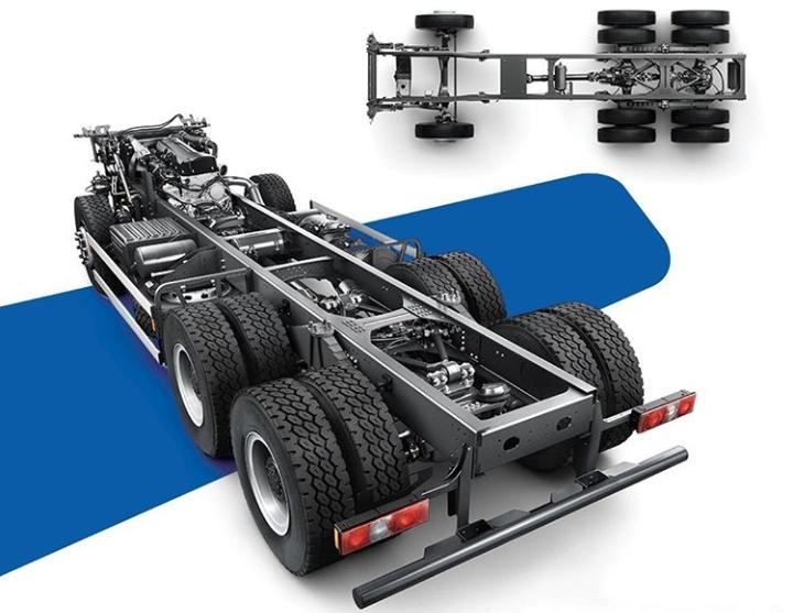 Sasis Quester dibuat dari baja berbentuk rolling yang kuat dan tahan lama dengan ketebalan 7,0 atau 8,0 mm.