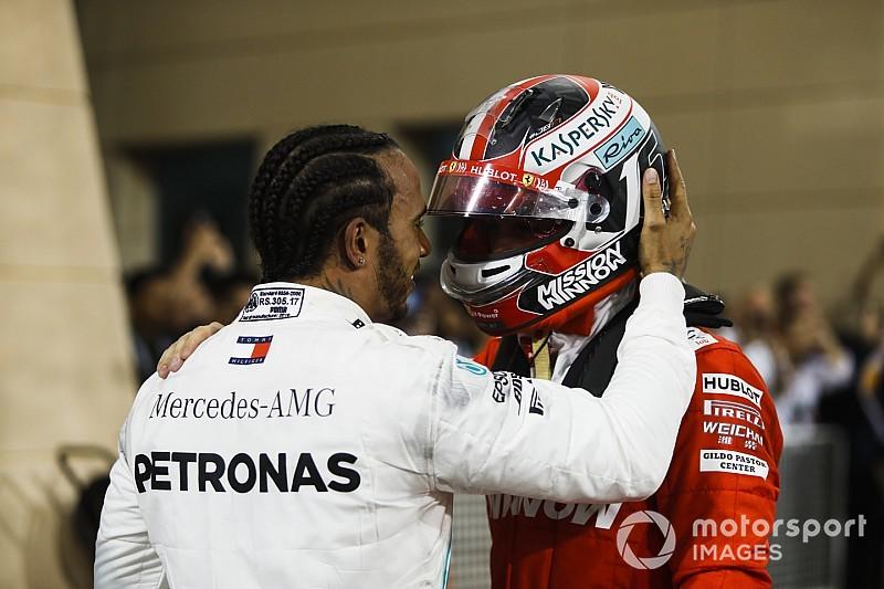 Lewis Hamilton tunjukkan rasa simpati kepada Charles Leclerc usai race F1 GP Bahrain (ist)
