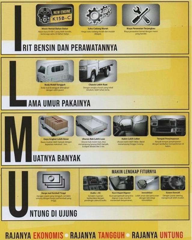 Di brosur ini pun ditawarkan kelebihannya, yakni volume kabin yang lebih luas dan bak yanh lebih luas.