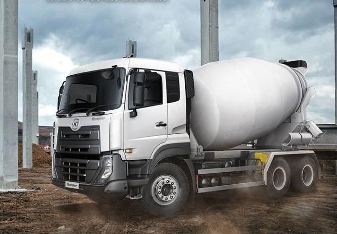 Astra UD Truck Quester CWE 280 64R yang secara khusus disesuaikan untuk industri konstruksi dengan sasis yang andal. (astraudtrucks)