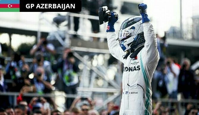 Valtteri Bottas dari tim Mercedes di podium 1 F1 Azerbaijan