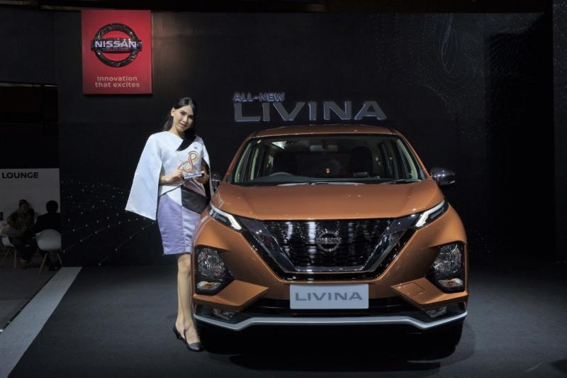 All New Nissan Livina menerima penghargaan Visitor Choice sebagai mobil pilihan pengunjung Telkomsel IIMS 2019. (anto)