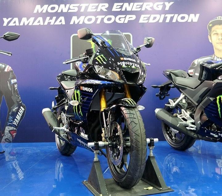 Diantaranya tiga varian sport model yaitu YZF-R25, YZF-R15 dan All New Vixion, lalu satu varian dari Maxi Yamaha yakni Aerox 155 VVA dan varian Bebek MX-King 150. (yamahaindonesia).