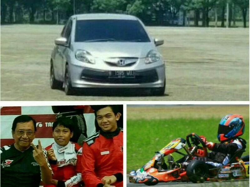 Daffa AB belajar setir mobil di parkiran sirkuit Sentul, tidak ada pelatih khusus.