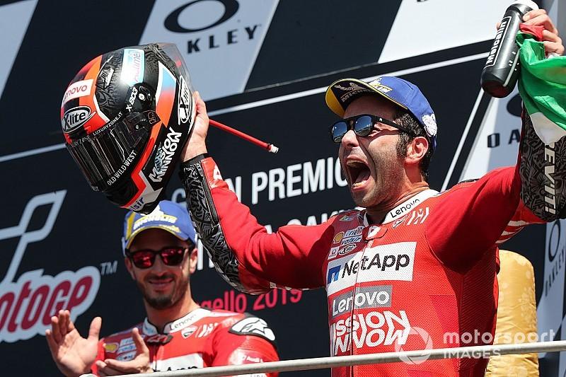 Selebrasi Danilo Petrucci usai memenangi race Mugello (ist)