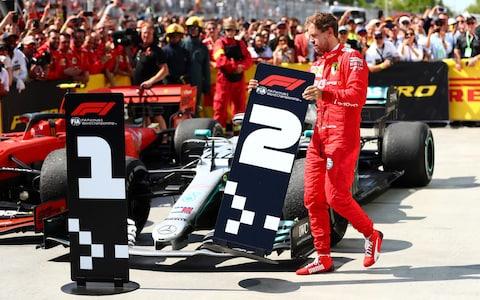 Sebastian Vettel (Ferrari) dengan marah ubah posisi juara GP Kanada. (Foto: theguardian).