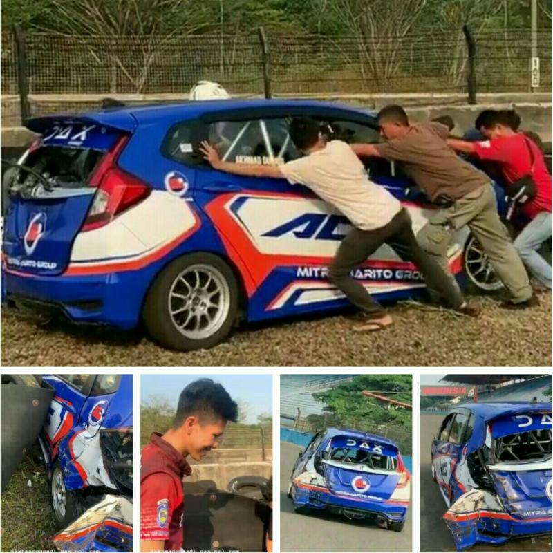 Mobil Agi nyungsrep saat latihan di Sentul International Circuit hari ini. (foto : ig nabil)