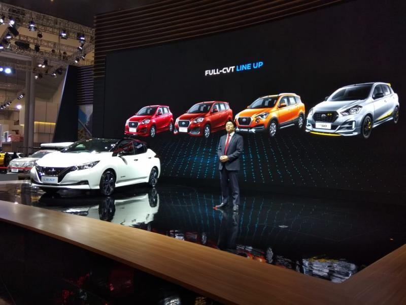 Berdampingan dengan Nissan, booth Datsun hadir dengan desain baru dan jajaran lengkap produk CVT Datsun, termasuk Datsun GO, GO+, GO live dan CROSS.(anto)