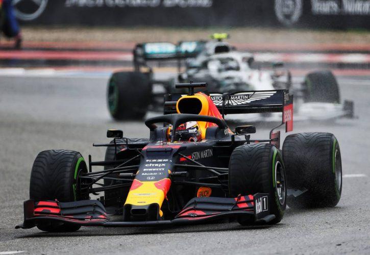 Max Verstappen (Red Bull) paling beruntung dan paling lihai pada wet race GP Jerman, kemenangan kedua musim 2019. (Foto: f1.com)