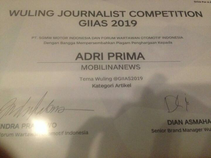 Artikel dengan judul : Almaz & Teknologi WIND Jadi Klimaks Legitimasi WulinG di Usia 2 Tahun, juara lomba penulisan di GIIAS 2019