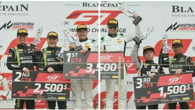 Setiawan Santoso (paling kanan) di atas podium juara 2 di Korea International Circuit. (foto : aphit)