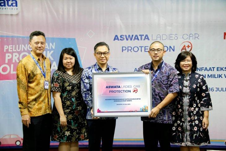 Direktur Agus Setya Darma (ketiga dari kiri) dan Presiden Direktur Aswata Christian W. Wanandi (kedua dari kanan) didampingi sejumlah pimpinam Aswata meluncurkan Aswata Ladies Car Protection A+. (dok. Antara)