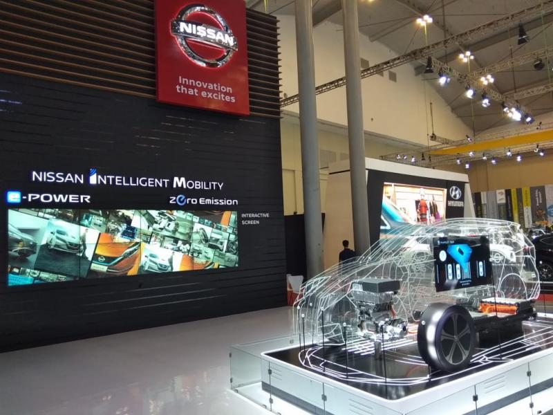 Nissan memamerkan teknologi mobil listriknya di ajang GIIAS 2019 lalu. (anto)