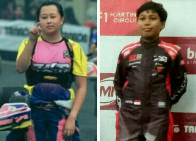 Daffa AB (kiri) dan Kezia Santoso satu-satunya pegokart wanita dari Indonesia