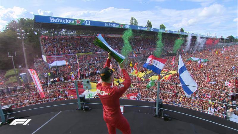 Charles Lecrlerc akhiri puasa panjang Ferrari sejak 2010 di Sirkuit Monza. (Foto: f1)