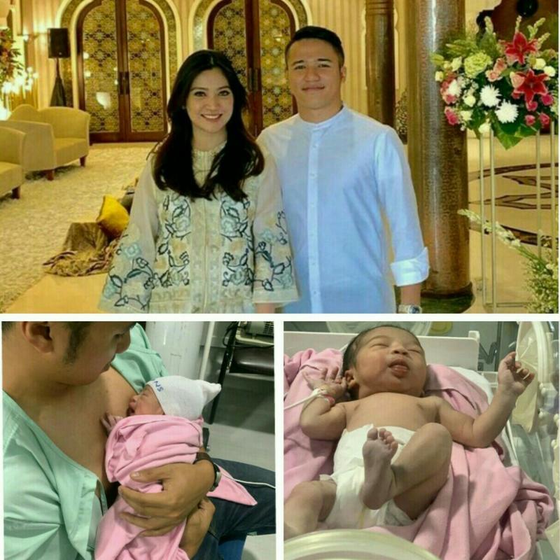 Adwitya Amandio, Deborah Enah Supit & bayi Emmora Aurora Amandio. (kolase)