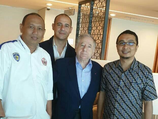 Anondo Eko (kiri), Jean Todt dan Sadikin Aksa, berpesan untuk sukses Formula E di Jakarta tahun depan