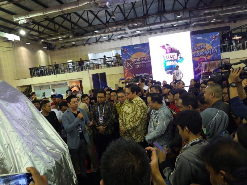 Menperin Airlangga Hartarto resmikan IMX 2019 di Balai Kartini Jakarta Sabtu pagi ini