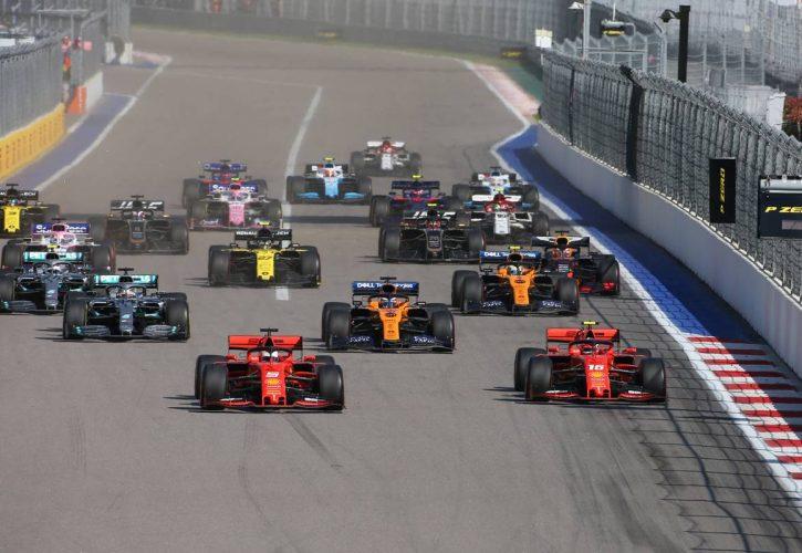 Ferrari 1-2 di awal start GP Rusia, akhirnya berantakan di garis finish. (Foto: f1)
