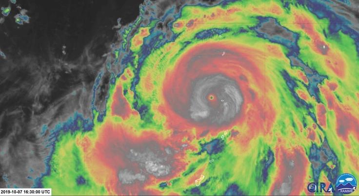 Gambar satelit topan Hagibis yang sedang menuju daratan Jepang, speed 260 kpj disertai hujan lebat. (Foto: raceweek)