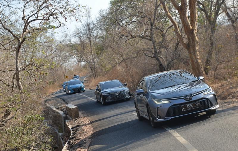 Deretan mobil Hybrid Toyota diuji dalam perjalanan jarak jaruh rute Banyuwangi - Bali