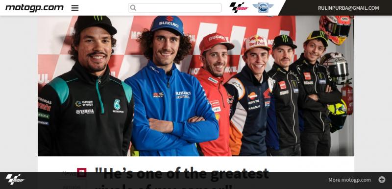Jorge Lorenzo diapit Valentino Rossi, Marc Marquez dan Andrea Dovizioso dalam jumpa pers terakhir di MotoGP. (Foto: motogp.com)