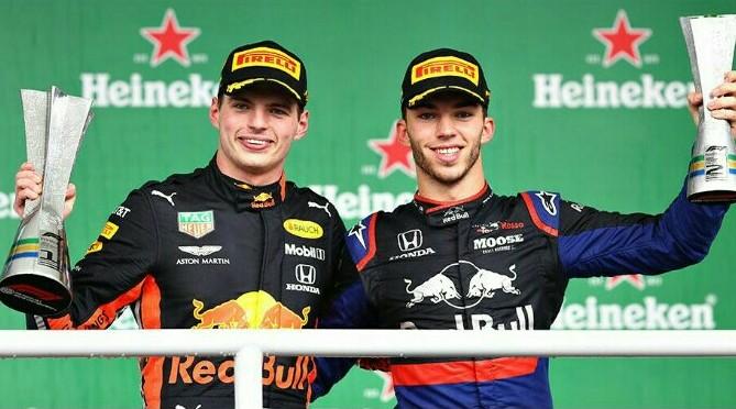 Max Verstappen dan Pierre Gasly,  juara 1 dan 2 di F1 Brazil 2019