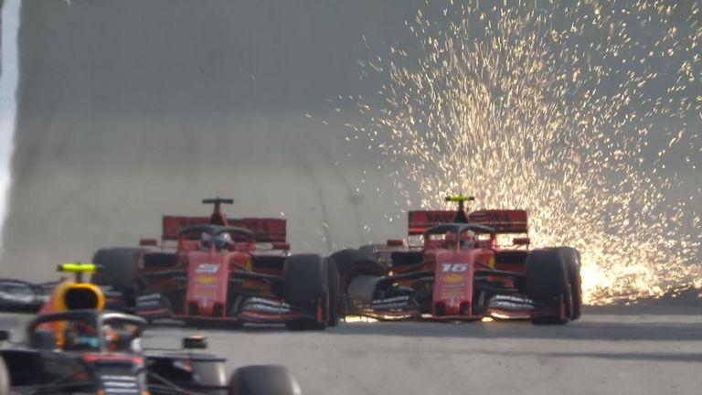 Momen saat mobil Sebastian Vettel senggolan dengan Charles Leclerc di Interlagos, Brasil. (Foto: skysports)