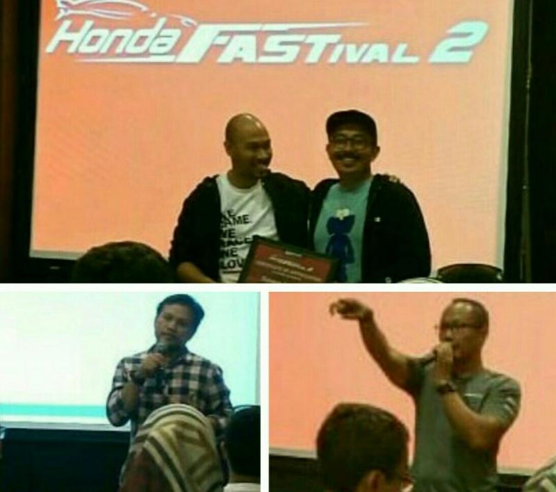 Searah jarum jam, dari atas : Yulian Karfili dan Cak Dan, Aris Djambul dan Achmad Suhendra di acara Honda Fastival 2 hari ini di Jakarta.  (foto : bs)