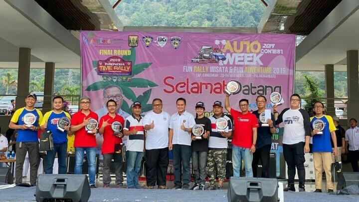Para pemenang kejurnas time rally 2019 putaran terakhir di Pelabuhan Ratu, Sukabumi