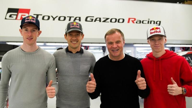 Tommi Makinen (kedua dari kiri) diapit para pereli Toyota di kancah WRC 2020. (Foto: wrc)