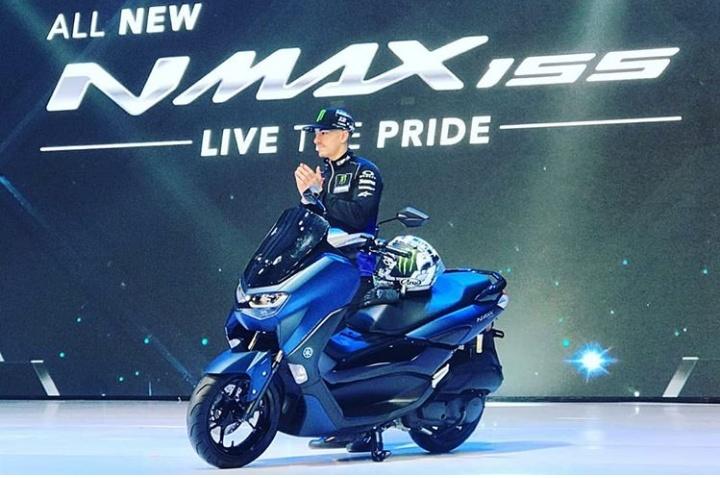 Yamaha NMax versi 2020 ini diluncurkan oleh pembalap MotoGP Maverick Vinales dan pembalap WSBK Michael Van Der Mark di Jakarta (2/12/2019). (ist)